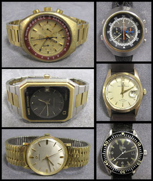 A collection of vintage watches will include Omega Flightmaster and Seamaster models. Image courtesy of William Jenack Estate Appraisers and Auctioneers.
