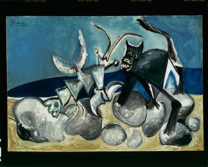 A genuine artwork by Pablo Picasso (Spanish, 1881-1973), Homard et Chat sur la Plage (Lobster and Cat on a Beach). Auctioned by European Evaluators LLC on Dec. 20, 2006, for $4,773,900. Image courtesy of LiveAuctioneers.com Archive and European Evaluators LLC.
