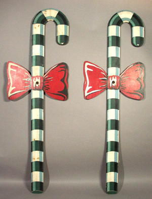 Pair of folk art candy canes sold by Morphy Auctions on Dec. 11, 2004. Image courtesy of LiveAuctioneers.com Archive and Morphy Auctions.