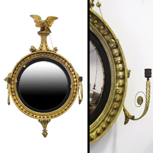 Very fine Regency period carved and gilt girandole mirror with eagle and candle arms by Thomas Fenthan, retaining the original label. Image courtesy of William Jenack Estate Appraisers and Auctioneers.