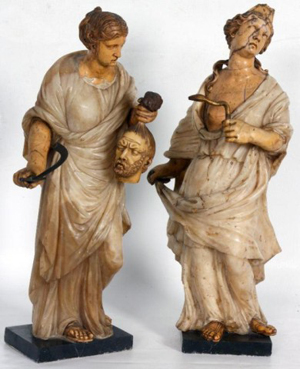 Pair of carved early Continental alabaster and marble statues of Cleopatra and Judith, $132,250. Image courtesy of Fontaine's Auction Gallery.