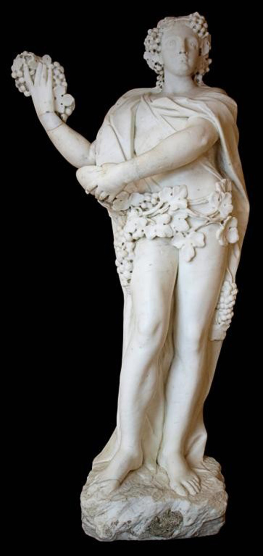 talian Neoclassical Carrara marble statue of Dionysus, the Greek god of wine, Naples, mid-18th century, 60 inches high, affixed to a black granite bases. Estimate: $10.000-$15,000. Image courtesy of Austin Auction Gallery.