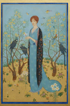 Edmund Dulac (French, British, 1882-1953) painted 'Lady in the Garden' in 1917. The framed painting is expected to sell for $12,000-$18,000. Image courtesy of Austin Auction Gallery.