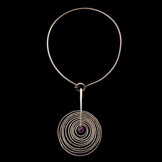 George Jensen, Bent Gabrielsen amethyst, sterling silver pendant-necklace, Denmark, circa 1928, Estimate: Estimate:  $300-$500. Image courtesy of Michaan's Auctions.