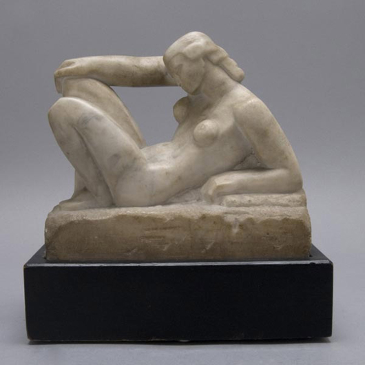 Warren Dewitt Cheney (American 1907-1979), 'opus 5,' Alaska marble, 1931, 7 x 4 x 8 inches, in excellent condition, mounted to a painted wood base. Estimate: $2,000-$4,000. Image courtesy of Michaan's Auctions.