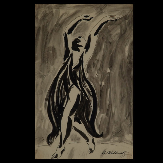 Abraham Walkowitz (Russian Federation, 1878-1965), 'Portrait of Isadora Duncan,' ink on paper. 11 x 8 1/2 inches. Signed lower center. Estimate: $500-$700. Image courtesy of Michaan's Auctions.