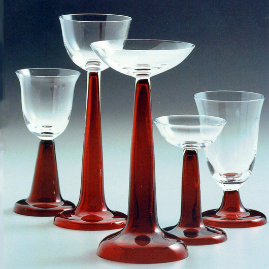 Behrens glassware has been manufactured at the Freiherr von Poschinger factory for over 100 years. The glasses were part of the tableware presented by Peter Behrens at the exhibition in 'Glaspalast' in Munich in 1899. Image courtesy of Bavarian Kunst Ventures Inc. 'Poschinger Stemware.'
