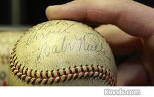Babe Ruth signed baseball. Image courtesy of stricklerautographs.blogspot.com.
