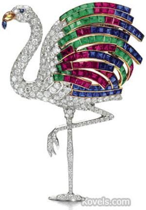 Wallis Simpson flamingo brooch. Image courtesy of Sotheby's London.