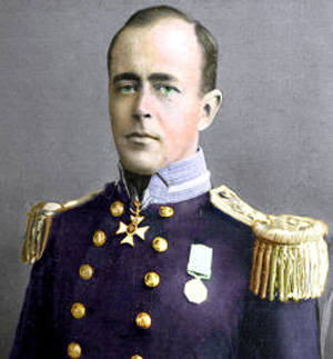 Captain Robert Falcon Scott, tinted photo from a 1912 newspaper The Sphere.