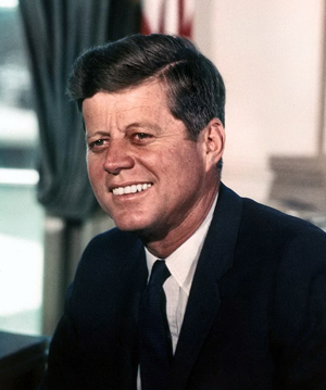 President John F. Kennedy, photo taken in the Oval Office on July 11, 1963 by White House photographer Cecil Stoughton.