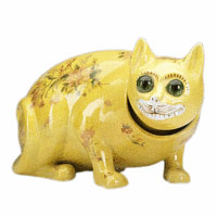 Any Galle pottery cat is amusing and unusual. This yellow cat has large round glass eyes and small transfer decorations on its body. Even with a hairline crack, the 5 1/2- by 10- inch figure sold for $800 at a November Rago auction in Lambertville, N.J.