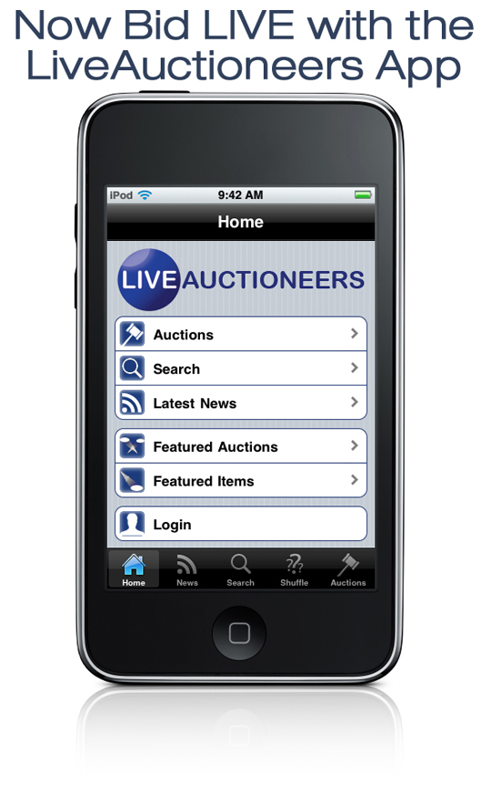 Bidders can take part absentee or in real time in any auction supported by LiveAuctioneers through the company's mobile phone bidding app available to users of iPhone, iPod Touch, Android or BlackBerry (absentee only through BlackBerry). Image courtesy LiveAuctioneers.com.