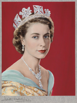 'Queen Elizabeth II,' Dorothy Wilding (Hand-colored by Beatrice Johnson), 1952. Hand-colored bromide print, 316 x 248 mm. National Portrait Gallery, London (x125105). © William Hustler and Georgina Hustler/ National Portrait Gallery, London.
