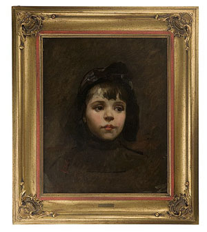Portrait of young girl by Frank Duveneck (American, 1848-1919), oil on canvas, signed and dated '92,' 19 1/2 x 15 1/2 inches. Estimate: $10,000-$15,000. Image courtesy of Cowan's Auctions.