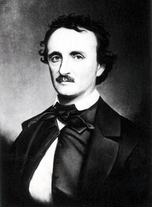 Edgar Allan Poe in an 1860s portrait by Oscar Halling from a daguerreotype. Image courtesy of Wikimedia Commons.