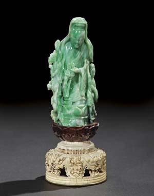 Fine and rare Chinese carved jadeite statue of the Bodhisattva Guanyin, 18th century or later, 11 inches high. Estimate: $50,000-$80,000. Image courtesy of New Orleans Auction, St. Charles Gallery.