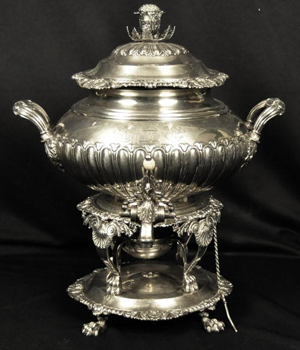 Hot water kettle, London 1815, makers Rebecca Emes and Edward Barnard, 153 troy ounces, height: 16 1/2 inches. Estimate: $6,000-$9,000. Image courtesy of John McInnis Auctioneers.
