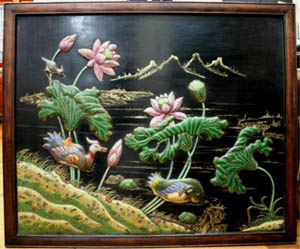 One of a pair of large lacquer wood panels with cloisonné inlay, depicting birds and flowers, China, 19th century, unmarked, 36 3/4 inches long x 44 inches wide. Estimate $30,000-$50,000. Image courtesy of Showplace Antique & Design Center.