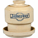 This 9-inch tall stoneware chicken waterer advertising Jamesway stores sold for $288 last summer at a Morphy auction in Denver, Pa.