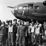 The crew of the 'Memphis Belle' stands in front of the famous B-17 Flying Fortress in 1943. Image courtesy of Wikimedia Commons.