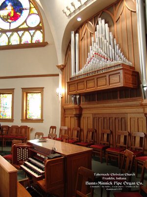The Tabernacle Christian Church in Franklin, Ind., has a 1997 Bunn=Minnick Pipe Organ with three manuals, or keyboards, and 26 sets of pipes, called ranks. Image courtesy of Bunn=Minnick Pipe Organ Co.