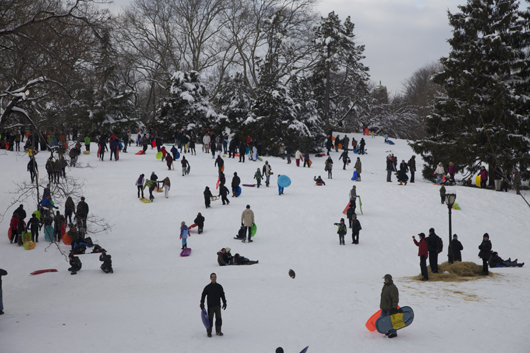 It's not a Lowry painting, but this photo of New Yorkers of all ages enjoying snow activities in Central Park's area known as The Hill comes very close. Photo by Julian R. Ellison.