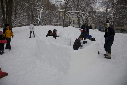 A classic pursuit in the winter season, building an igloo. Photo by Julian R. Ellison.