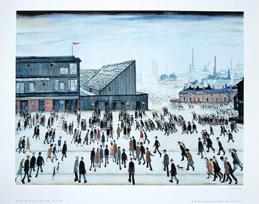 After Laurence Stephen Lowry (English, 1887-1976), Going to the Match – a scene suggestive of the busy throng of people in New York's Central Park on any given snowy day. Auctioned Nov. 28, 2007 by Bloomsbury's London. Image courtesy of Bloomsbury's and LiveAuctioneers.com Archive.