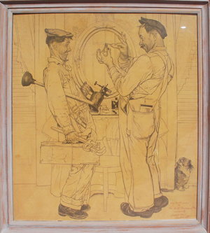 Norman Rockwell's drawing 'The Plumbers' became the cover of the 'Saturday Evening Post' magazine dated June 2, 1951. The drawing measures 39 1/2 inches by 35 1/2 inches. Image courtesy of Bill Hood & Sons.