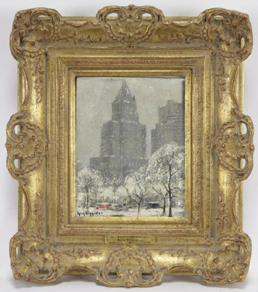 Guy Carleton Wiggins (American, 1883-1962), Woolworth Building, to be auctioned Jan. 29, 2011 by Dallas Fine Art Auction. Image courtesy of Dallas Fine Art Auction and LiveAuctioneers.com Archive.