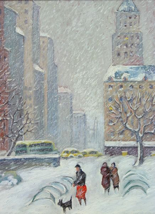 Guy Carleton Wiggins (American, 1883-1962), In Central Park: Looking Down on Fifth Avenue to Bergdorf's. Auctioned April 26, 2008 by Kaminski's. Image courtesy of Kaminski Auctions and LiveAuctioneers.com Archive.