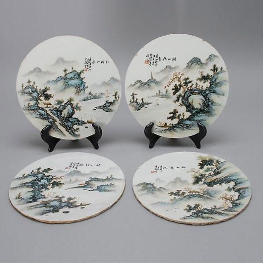 Set of four porcelain plaques. Estimate: $800-1,200. Image courtesy of Michaan's Auctions.