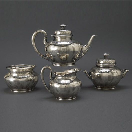 Tiffany & Co. sterling four-piece tea service, 1907. Estimate: $5,000-$7,000. Image courtesy of Michaan's Auctions.