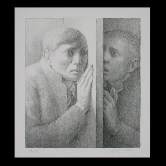 George Tooker (American b. 1920), 'The Voice,' lithograph, 1977. Estimate: $1,500-$2,000. Image courtesy of Michaan's Auctions.