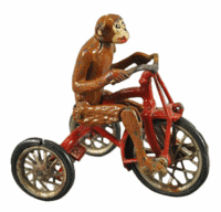 The monkey's legs look as if they are peddling the bike when the toy rolls across the floor. The 6 1/2-inch-long toy brought $1,948 at a Bertoia auction in Vineland, N.J.