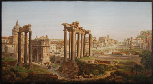 Attributed to Vatican artist, Cesare Roccheggiani, this glass micromosaic depicting the Roman Forum was sold for $379,500 inclusive of 15% buyer's premium at Myers Auction Gallery's Jan. 30 sale.