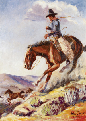 'Wild Horses,' a signed oil on board by Will James, brought the highest price of the auction at $149,500. Image courtesy of High Noon Western Americana.