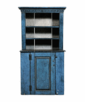 Worn blue paint can be seen on this country cupboard. The top part is shallower than the bottom, giving it the name stepback cupboard. It sold for $1,180 at a Brunk auction in Asheville, N.C.