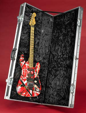 The 'Frank 2' guitar used by Eddie Van Halen on his band's 2007-08 tour is identical to the original 'Frankenstein' guitar, which he used for more than 30 years. Photo by Hugh Talman, courtesy of the Smithsonian's National Museum of American History.