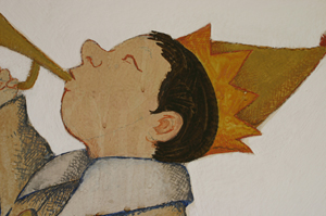 Detail prior to conservation, The Chertoff Mural. © 1961 by Maurice Sendak, all rights reserved.