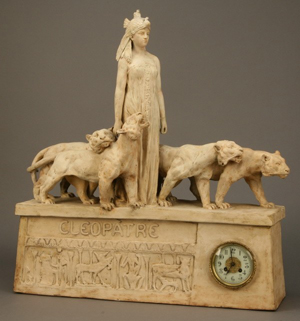 Late 19th-century French Egyptian Revival figural terracotta clock featuring a standing figure of Cleopatra flanked by tigers, 30 inches high x 27 inches long x 7 inches deep. Estimate: $3,000-$4,500. Image courtesy of Great Gatsby's.