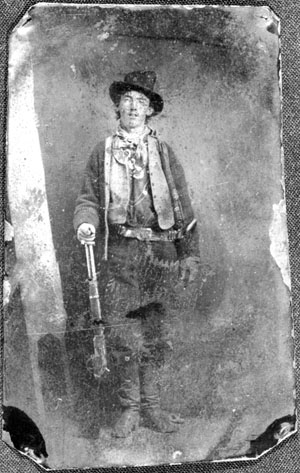 Tintype of Billy the Kid, who posed for the picture in a Fort Sumner, N.M., gambling hall in late 1879 or early 1880. The rare tintype, believed to be the only survivor of four that were created, will be auctioned on June 25 at Brian Lebel's Old West Show and Auction.