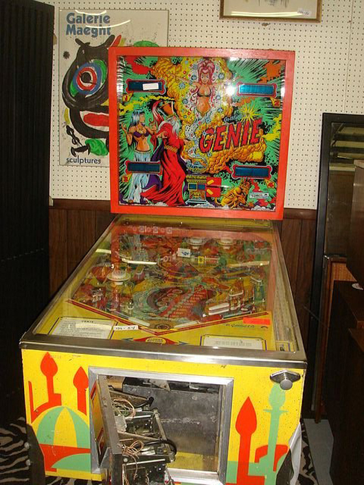Alexi Anastasio became fascinated with pinball while playing a Genie, a solid-state machine made by D. Gottlieb & Co. in the late 1970s and early '80s. Image courtesy of LiveAuctioneers Archive and Dutch Auction Sales.