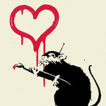 Banksy (British), Love Rat, signed and stamped screenprint from edition of 150, 19 3/4 inches by 13 3/4 inches, 2004, auctioned for $13,810 in The Fame Bureau's May 27, 2010 auction. Image courtesy of LiveAuctioneers.com Archive and The Fame Bureau.