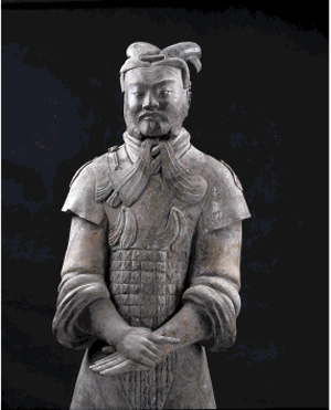 Unarmored high-ranking officer, earthenware, Qin dynasty, 221-206 B.C., excavated in 1980 at Terracotta Army Pit No. 1, Lintong, Shaanxi province, Emperor Qin Shihuang's Terracotta Army Museum, 002743. Image courtesy of The Montreal Museum of Fine Arts.