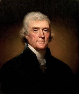 Thomas Jefferson, pictured in Rembrandt Peale's 1800 portrait, owned a renowned library. Image courtesy of Wikimedia Commons.