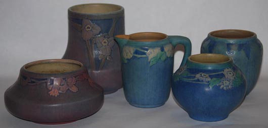 Estate fresh collection of Newcomb College pottery. Image courtesy of Just Art Pottery Auction.