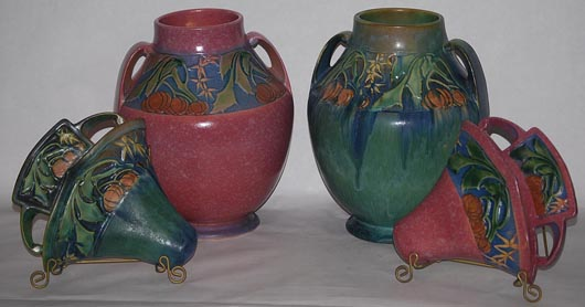 Collection of Roseville Baneda wall pockets and vases. Image courtesy of Just Art Pottery Auction.