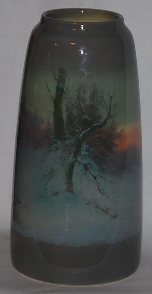 Rookwood Iris Glaze Scenic 14-inch vase. Estimate: $5,000-$7,500. Image courtesy of Just Art Pottery Auction.